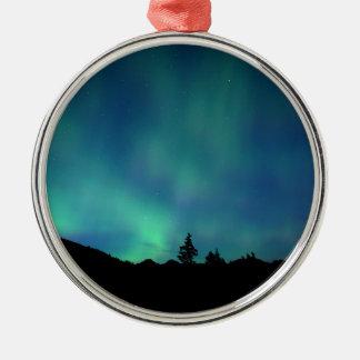 Ornement Rond Argenté Special léger bleu, l'aurore Borealis
