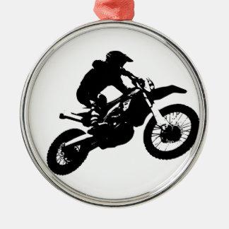 Ornement Rond Argenté Sport blanc noir de Motorcyle de motocross d'art