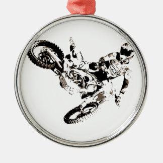 Ornement Rond Argenté Sport de Motorcyle de motocross d'art de bruit