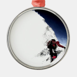 Ornement Rond Argenté Sports d'extrémité de grimpeur de montagne