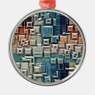 Ornement Rond Argenté structure 3D métallique