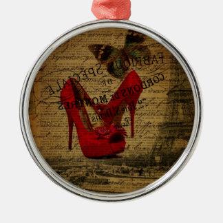 Ornement Rond Argenté Stylets de rouge de fashionista de Tour Eiffel de