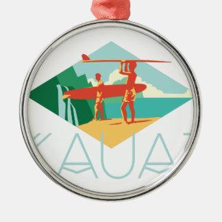 Ornement Rond Argenté Surfers de Kauai
