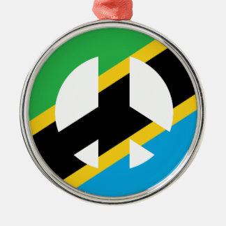 Ornement Rond Argenté Symbole de paix tanzanien