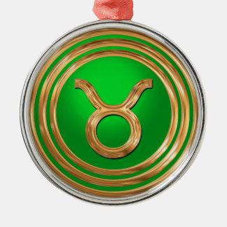 Ornement Rond Argenté Symbole de Taureau