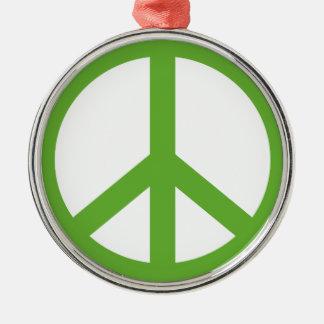 Ornement Rond Argenté Symbole vert de signe de paix