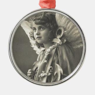 Ornement Rond Argenté Symbole vintage d'ange de fille d'ancre des années