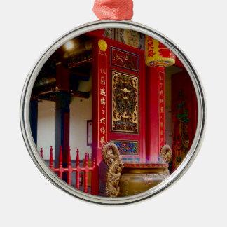 Ornement Rond Argenté Temple dans Yilan, Taïwan