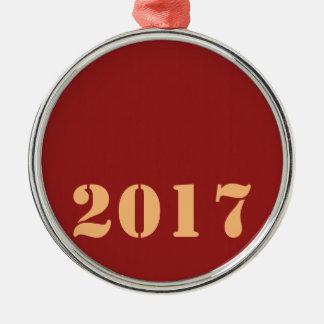 Ornement Rond Argenté Texte editable de modèle de 2017 bonnes années