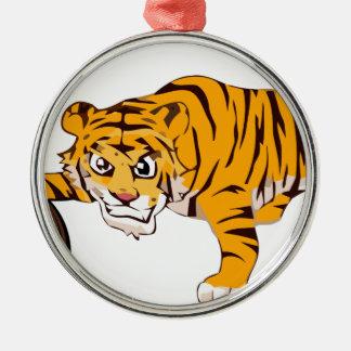 Ornement Rond Argenté tiger4