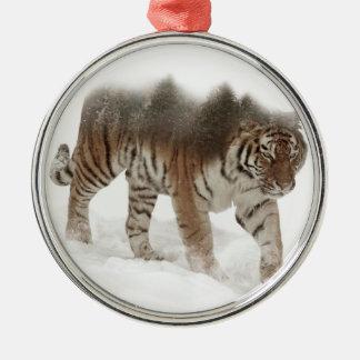 Ornement Rond Argenté Tigre-Tigre-double exposition-faune sibérienne