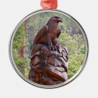Ornement Rond Argenté Totem d'Eagle découpant, Portugal
