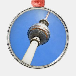 Ornement Rond Argenté Tour de télévision (Fernsehturm) à Berlin,