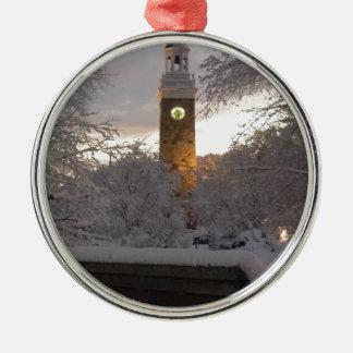 Ornement Rond Argenté Tour d'horloge de Milou avec le banc