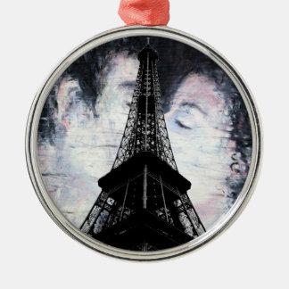 Ornement Rond Argenté Tour Eiffel