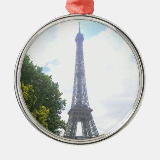 Ornement Rond Argenté Tour Eiffel, Paris France