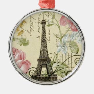 Ornement Rond Argenté Tour Eiffel vintage floral Girly de mod Paris