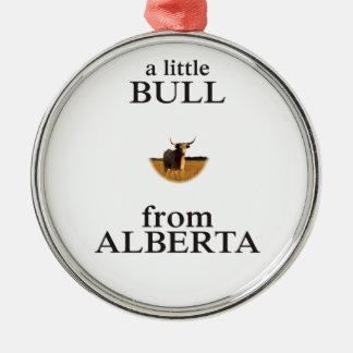Ornement Rond Argenté Un petit Taureau d'Alberta