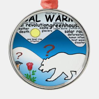 Ornement Rond Argenté Un rose dans l'Arctique qui est réchauffement