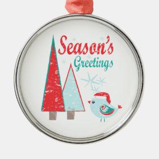 Ornement Rond Argenté Vacances d'arbres et d'oiseau de Noël de Bonnes