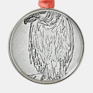Ornement Rond Argenté vautour