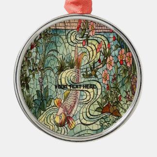 Ornement Rond Argenté Verre de mosaïque de Belcher Koi de poisson