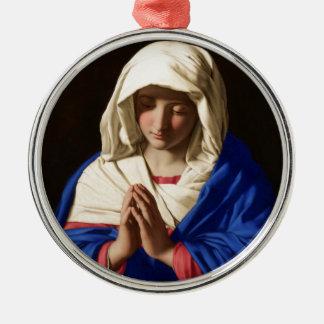 Ornement Rond Argenté Vierge Marie