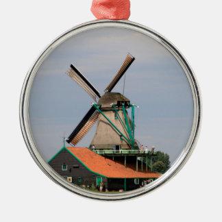 Ornement Rond Argenté Village néerlandais de moulin à vent, Hollande 3