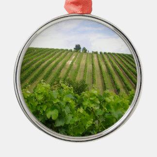 Ornement Rond Argenté Vineyard - Vignoble (Bordeaux - France) 02
