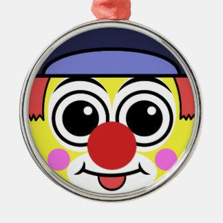 Ornement Rond Argenté Visage de clown
