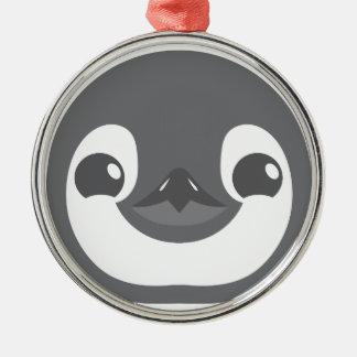 Ornement Rond Argenté visage de pingouin de bébé