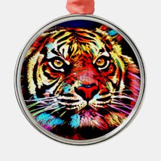 Ornement Rond Argenté Visage de tigre