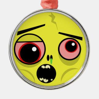Ornement Rond Argenté Visage de zombi