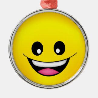 Ornement Rond Argenté Visage souriant heureux