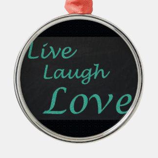 Ornement Rond Argenté Vivent l'amour de rire