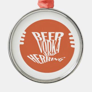 Ornement Rond Argenté vodka et harengs de bière