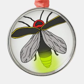 Ornement Rond Argenté vol d'insecte de foudre allumé