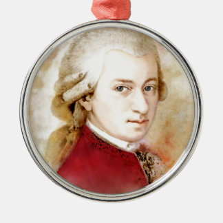 Ornement Rond Argenté Wolfgang Amadeus Mozart dans l'aquarelle style