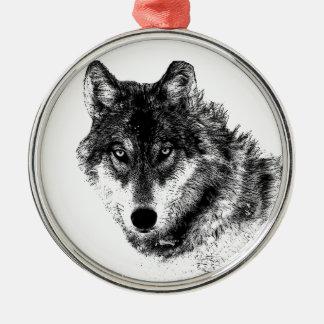 Ornement Rond Argenté Yeux inspirés blancs noirs de loup