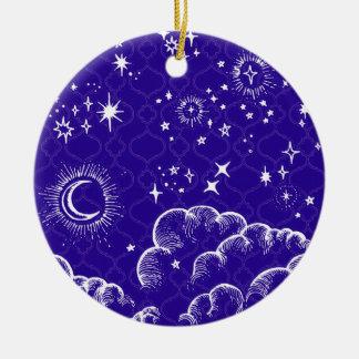 """Ornement rond de """"lune et d'étoiles"""" (WH/BLU/PUR)"""