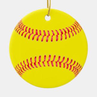Ornement rond de Noël du base-ball jaune de