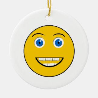 Ornement rond de sourire large d'Emoji