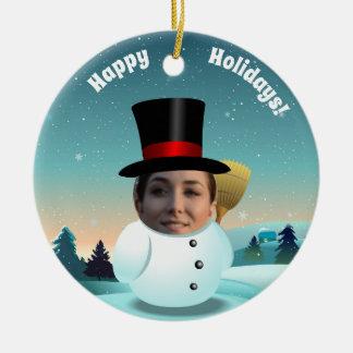 Ornement Rond En Céramique 2 bonhommes de neige drôles customisés avec vos
