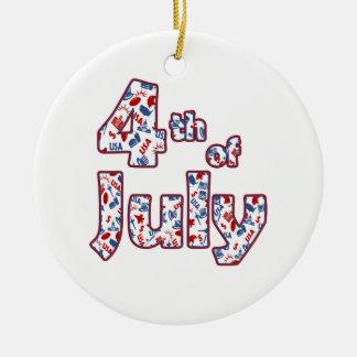Ornement Rond En Céramique 4 juillet Jour de la Déclaration d'Indépendance
