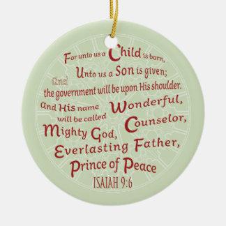 Ornement Rond En Céramique 9:6 d'Isaïe dans des couleurs de Noël