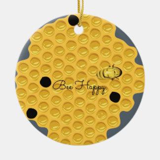 Ornement Rond En Céramique Abeille heureuse et le nid d'abeilles
