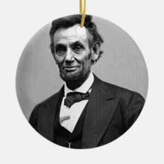 Ornement Rond En Céramique Abraham Lincoln