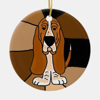 Ornement Rond En Céramique Abrégé sur adorable art de chien de Basset Hound