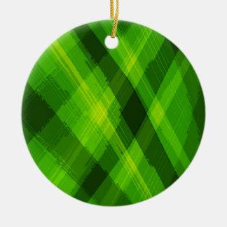 Ornement Rond En Céramique Abrégé sur vert feuille