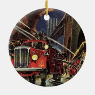 Ornement Rond En Céramique Affaires vintages, sapeurs-pompiers de pompiers de